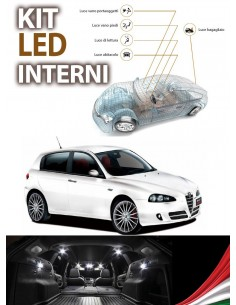 KIT FULL LED INTERNI ALFA ROMEO 147 RESTYLING CONVERSIONE COMPLETA + LED TARGA CANBUS