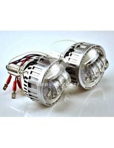 """PROIETTORE LED LENTICOLARE luce BASSA e ALTA H4 H1 H7 2,5"""""""