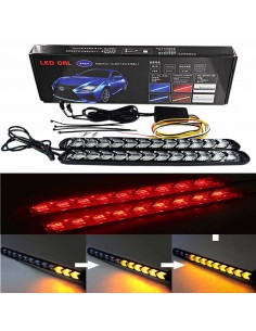 DRL FLESSIBILE SEQUENZIALE 9LED BIANCO/ROSSO
