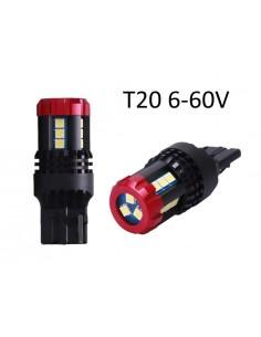 Coppia LED T20 7440 6-60V W21W  W3x16d BIANCO 18SMD 3030 MIGLIORE SUL MERCATO 12v 24v migliori sul mercato 2019