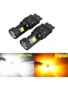 2pcs T25 3030 LED auto 3157 freccia arancio luce di marcia diurna bianca