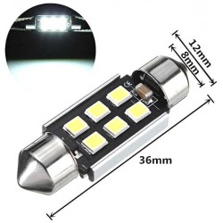 COPPIA LED FESTOON 36MM SILURO 24V 6 LED  CANBUS 2835 camion truck