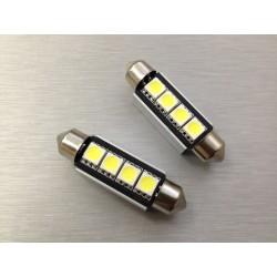 COPPIA LED FESTOON /SILURO 4 LED 42MM 5050 CANBUS