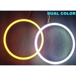 2 Angel Eyes LED COB 8 cm DUAL COLOR BIANCO ARANCIO