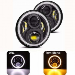 "KIT DX E SX LED JEEP 7"" pollici 6000K BIXENON 3600 lumen  ANGEL BIANCO E LED ARANCIO PER FRECCIA"
