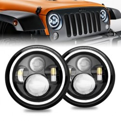 KIT DX E SX  LED JEEP 7 pollici 6000K BIXENON 3600 lumen  ANGEL BIANCO