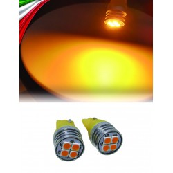 COPPIA LED T10 4 LED ARANCIO 3030 2 ANNI GARANZIA CANBUS