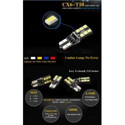 2 LED T10 CANBUS T10 W5W 800 lumens 6W ODB Canbus - nera