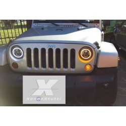 KIT DX E SX  LED JEEP  6000K BIXENON 3600 lumen  ANGEL BIANCO E LED ARANCIO PER FRECCIA