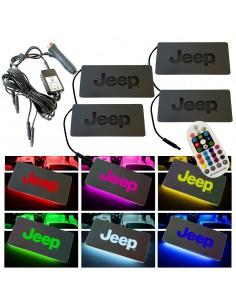 Placche Led Rgb Con Logo Jeep per Auto e Moto 4 Pezzi Impermeabili