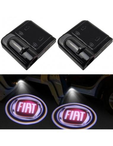 Proiettore Logo LED Fiat per portiera Con Batteria no Fori no Connessioni Plug & Play