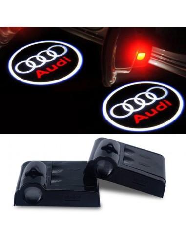 Proiettore Logo LED Audi per portiera Con Batteria no Fori no Connessioni Plug & Play