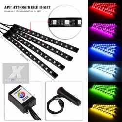 LED RGB AUTO ATMOSFERA WIFI INTERNO LUCE VANO PIEDI ACCENDISIGARI