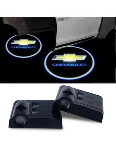 Proiettore Logo LED Chevrolet per Portiera con Batteria no Fori no Connessioni Plug & Play