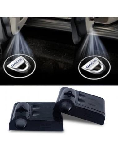 Proiettore Logo LED Dacia per Portiera con Batteria no Fori no Connessioni Plug & Play