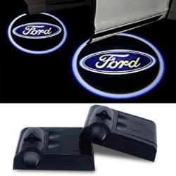 Proiettore Logo LED Ford per Portiera con Batteria no Fori no Connessioni Plug & Play