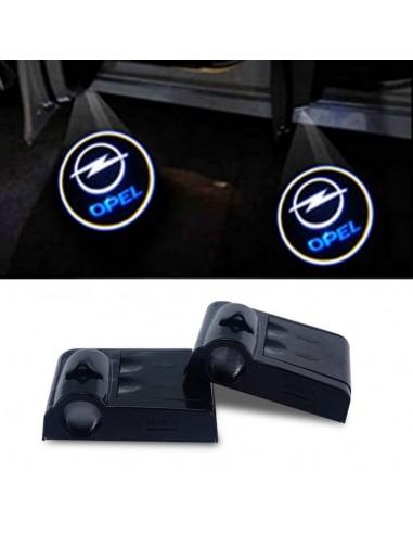 Proiettore Logo LED Opel per Portiera con Batteria no Fori no Connessioni Plug & Play