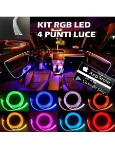 KIT 4 PEZZI RGB 8 Metri Interni Auto Decorativa Fibra Ottica Cruscotto Supporto portiere