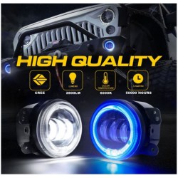 led angel eye blue fog headlight canbus