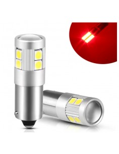 Coppia BA9S BAX9S LED ROSSO 9 SMD 3030 Super CANBUS