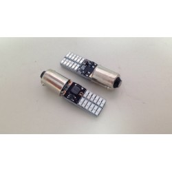 COPPIA BA9S BAX9S ROSSO LED 24 SMD 4014 SUPER CANBUS