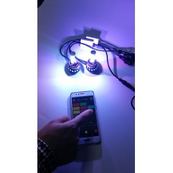 KIT FULL LED H11 RGB WIFI BIANCO ANDROID I-PHONE APP AUTO MOTO