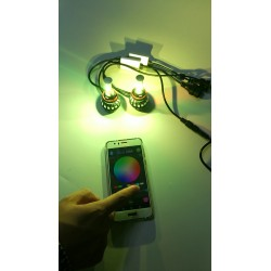 KIT FULL LED H4 RGB WIFI BIANCO ANDROID I-PHONE APP AUTO MOTO