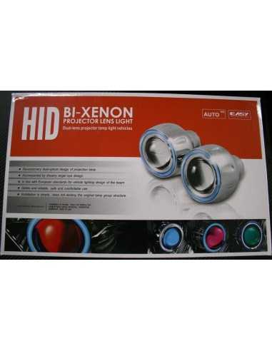"KIT FARI XENO BIXENON LENTICOLARE 3"" ANGEL EYE H1 H7 H4"