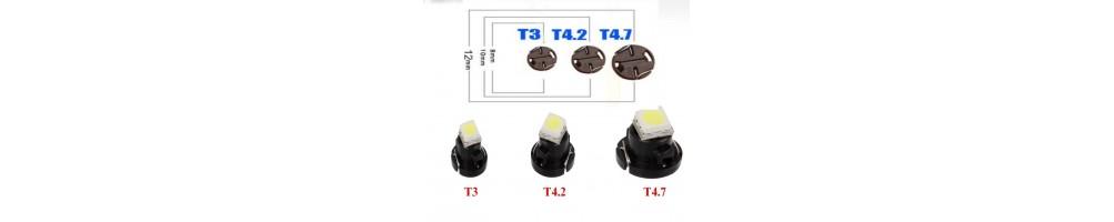 LED T3 T4,2 T4,7 LAMPADE PER SOSTITUZIONE INTENI E STRUMENTAZIONE AUTO